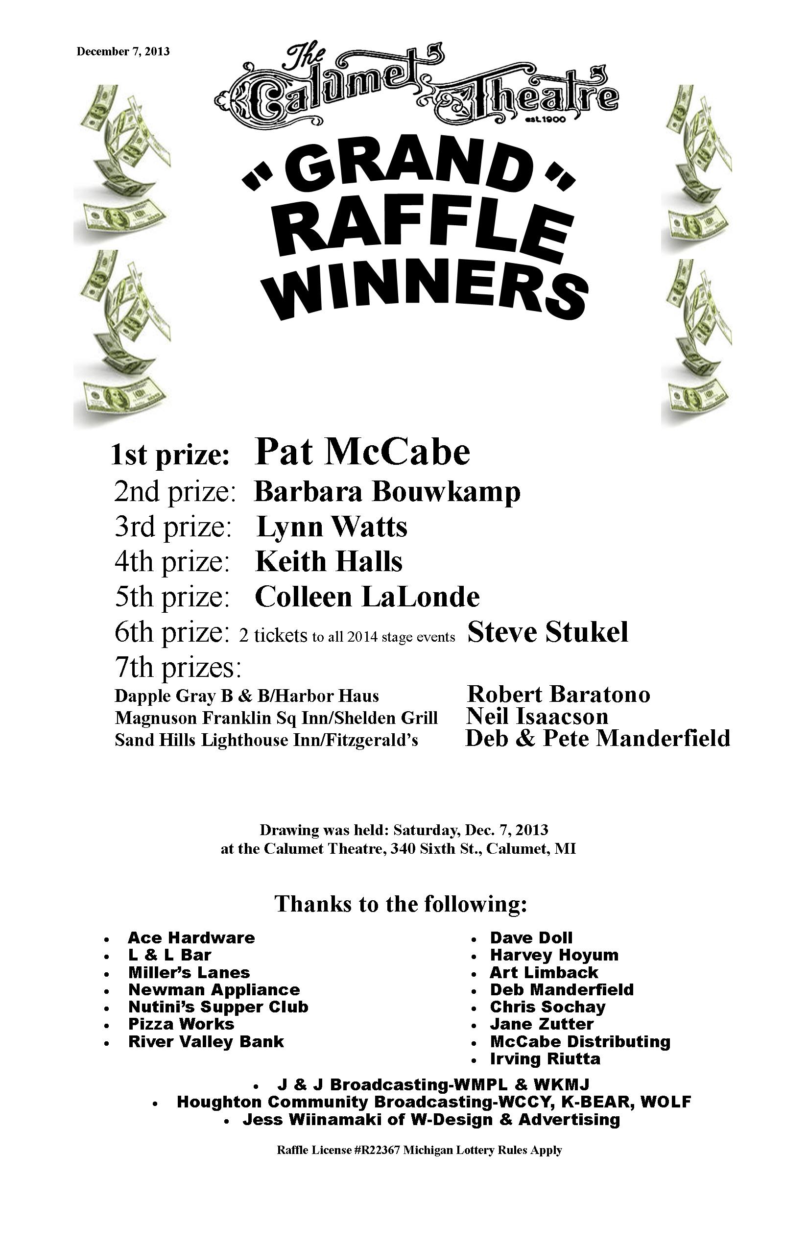 Grand Raffle winners 11×17  2013 without $$$ – The Calumet