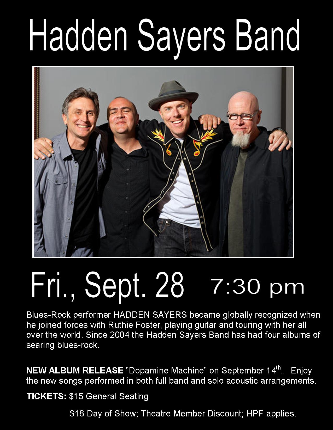 Hadden Sayers Band ~ Fri., Sept. 28 ~ 7:30 pm
